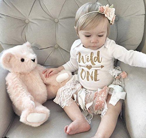 Olive Loves Apple Wild One Gold Glitter Girls 1st Birthday Bodysuit,Gold,6-12 months short sleeve by Olive Loves Apple (Image #2)