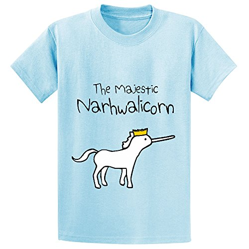 Unicorn The Majestic Narwhalicorn Child Personalized Crew Neck Tees L-blue