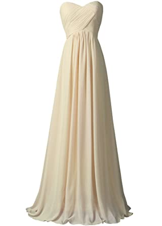 WAWALI A-Line Straplees Prom Dresses Evening Party Gowns 2 Beige