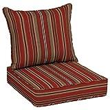 Allen roth 2-Piece Priscilla Stripe Red Deep Seat Patio Chair Cushion