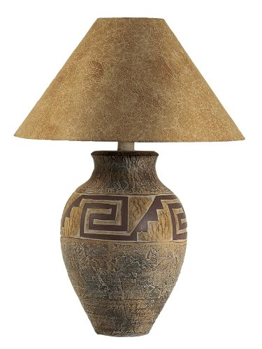 Southwest Pattern Paprika Shade Table Lamp (Hide Lamp Shades)