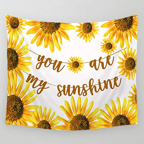 Decorate My Desk (Sunshine Sunflower You are My Sunshine Blessing Gift Tapestry Wall Hanging Tapestry Blanket Decorate for Home Bedroom Living Room Table (90x60)