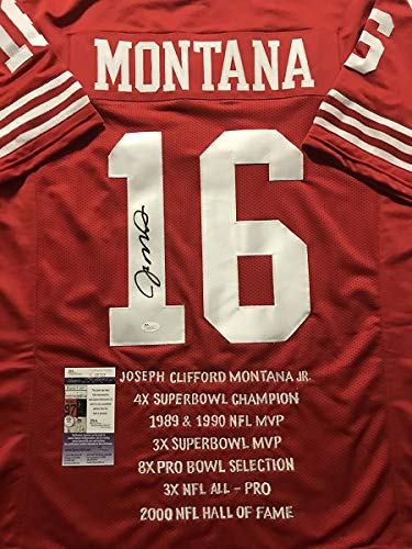 Autographed/Signed Joe Montana San Francisco Red Stat Football Jersey JSA COA