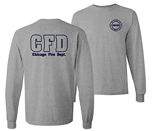Chicago Fire Department Maltese Cross 2-Sided Long Sleeve T-shirt (5X-large, Sports Grey)
