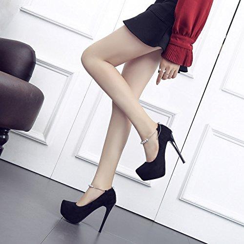 Affilato 13 Signore Con Tavola HBDLH da Donna Scarpa Di A Cm Scarpe Brillante Da Alti donna scarpe bell'aspetto Scamosciato Scarpe Tacchi black Unico xYqqpw4f
