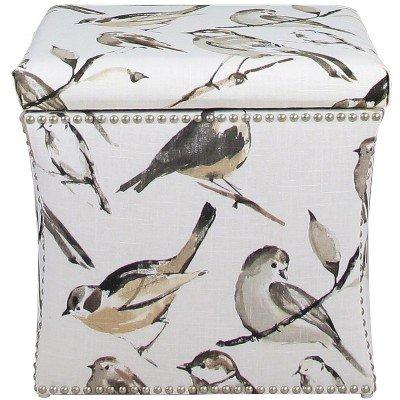Nail Button Storage Ottoman Birdwatcher Charcoal - Skyline Furniture Birdwatcher Charcoal
