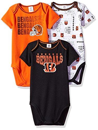 NFL Cincinnati Bengals Boys Short Sleeve Bodysuit (3 Pack), 0-3 Months, (Cincinnati Bengals Nfl Hoody)