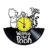 Winnie the Pooh Vinyl Record Wall Clock - Get unique living, kids room wall décor - Gift ideas for baby, sister, brother, kid - Unique movie art design - Leave us a feedback and win your custom clock.