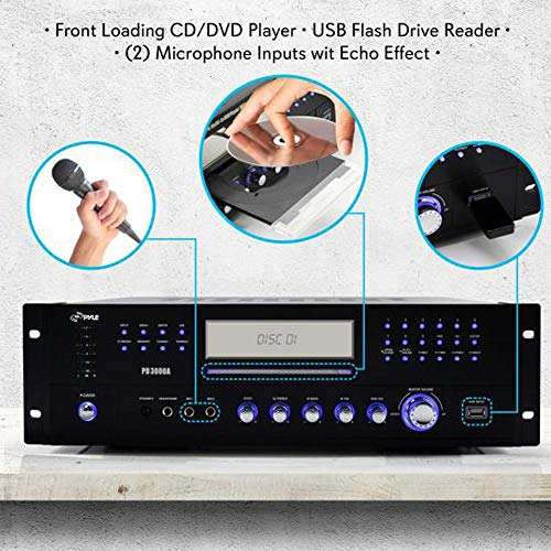 electronics, home audio, home theater, receivers & amplifiers,  receivers  picture, Pyle 4 Channel Home Audio Power Amplifier » 3000 Watt Stereo Receiver w/ Speaker Selector, AM FM Radio, USB, Headphone, 2 Microphone Input for Karaoke, Surround Sound Home Theater System » PD3000A deals3