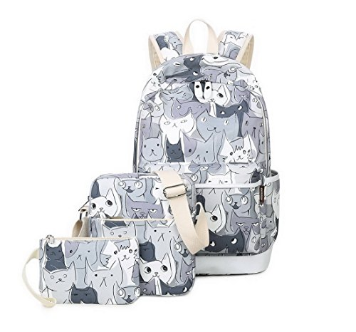 Joymoze School Backpack for Girl Cute Backpack Set 3 Pieces for Women Cats