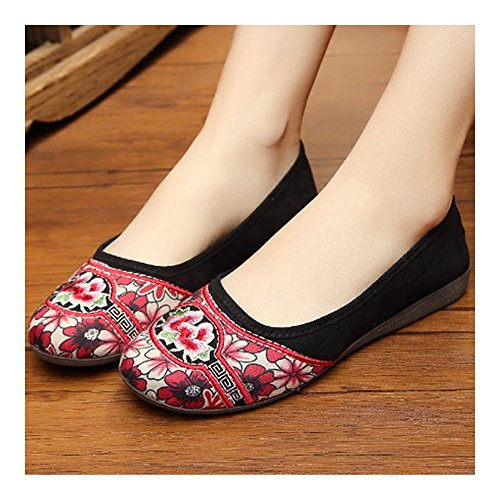 Casual Shoes Style Old black 35 Splicing National Beijing Cloth CTfAwq