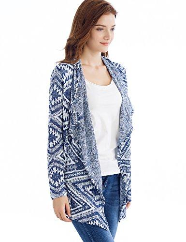 para Cardigan Mujeres abrigo Tops Mantón irregular raya kimono Tkiames de Azul2 cubre 16nxwqgq