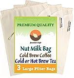 3 Pack (Large 11'x8') Organic Cotton Nut Milk Bag & Cold Brew...