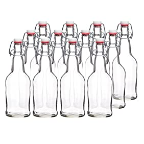California Home Goods 16 Ounce Grolsch Bottles with EZ Caps for Beer, Fermenting Kombucha, Home Brewing, Kefir, Resealable and Reusable, Flip Top Caps, Clear (Set of 12)