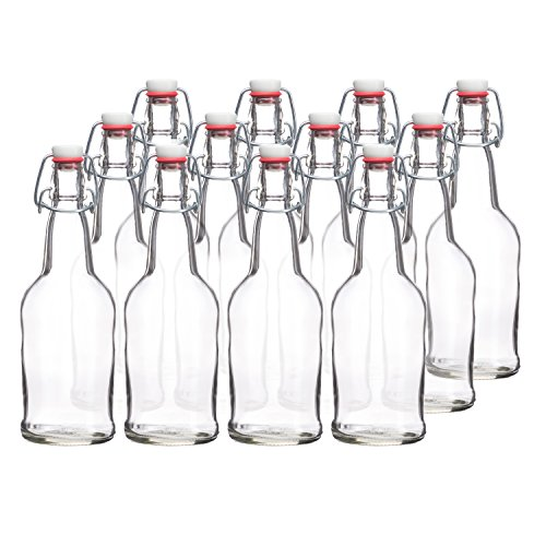 Price comparison product image California Home Goods 16 Ounce Grolsch Bottles with EZ Caps for Beer, Fermenting Kombucha, Home Brewing, Kefir, Resealable and Reusable, Flip Top Caps, Clear (Set of 12)