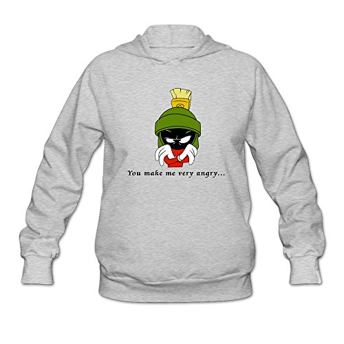 (JUST Women's Movie Marvin The Martian Quotes Hoodie Ash)