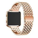 Wrist Watch Band, Winhurn Stainless Steel Bracelet Strap For Fitbit Blaze Smart Watch (Rose Gold)