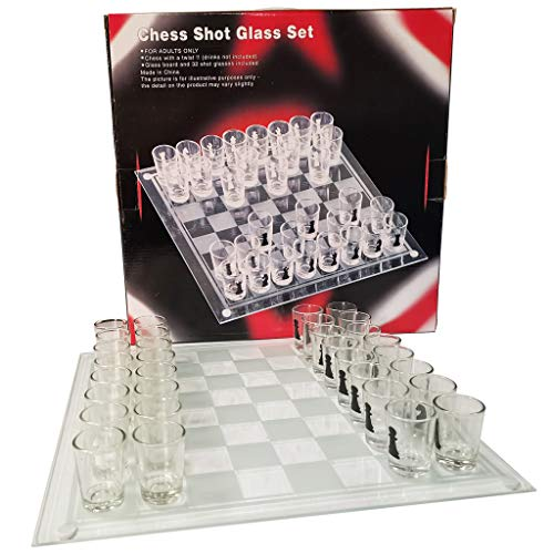 GkanMore Chess Shot Glass Set, Glass Chess with 13.8X 13.8 Inch Chess Board Party Drinking Game Shot Glass Game for…