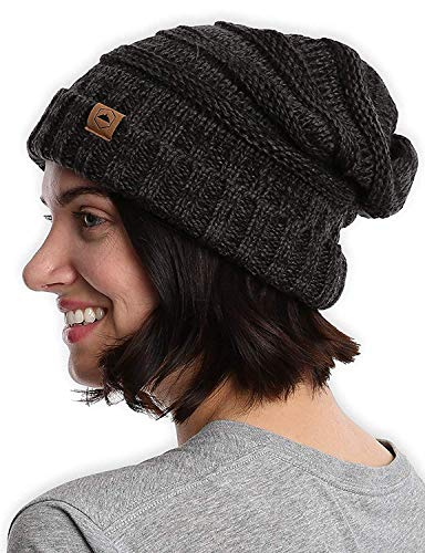 Slouchy Cable Knit Cuff Beanie by Tough Headwear - Chunky, Oversized Slouch Beanie Hats for Men & Women-Black Gray, one size