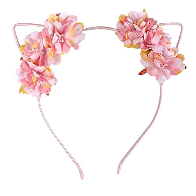 81373580993 Image Unavailable. Image not available for. Color  Ztl Fabric Flower Cat  Ears Headband Elegant Women Girl Hairband Hair Accessories
