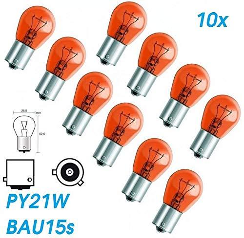 10x Stück – PY21W - BAU15s - 12V - 21W - AMBER/ORANG KFZ Beleuchtung - Glühlampe (versetzte Pins) Kugellampe Blinklicht Blinkerlampe Blinkerbirne Glühbirne Soffitte Autolampen/chiavi INION
