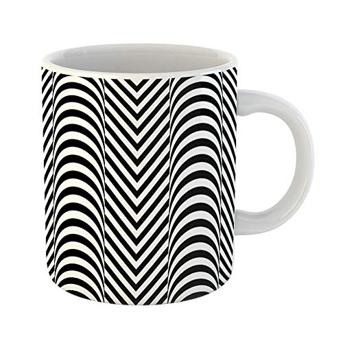 Hoop Diagonal (Emvency Coffee Tea Mug Gift 11 Ounces Funny Ceramic Jagged Stripes Zigzag Lines Pattern Wavy Linear Chevrons Fills Gifts For Family Friends Coworkers Boss Mug)
