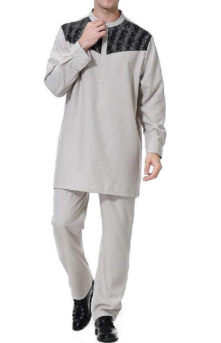 Grey BYWX Men Shirt Casual Muslim Slim Kaftan Kaftan Kaftan Long color Block Top with Pants 5487f2