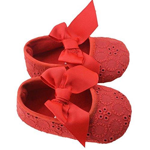 Tefamore Zapatos Cuna De Bebe Algodón De La Cinta Bowknot Soft Bottom Flor Prewalker Niñas lactantes Rojo