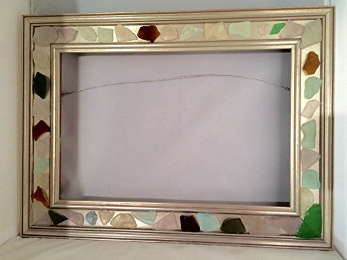 Sea Glass Art Frame for 12 x 8 Piece Genuine Surf Tumbled Cape Cod Beach Glass Wood Moulding with Silver Finish andvHanging Hardware