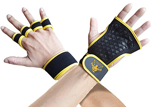 Best Crossfit Gloves with Sweatband, Wrist Support & Carrying Case By Tiger Fitness - Callus Guard & Extra Grip Strength for WODs, Weightlifting & Gym Workouts - For Men & Women (Yellow-Medium)