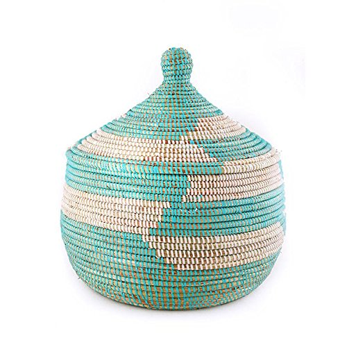 African Fair Trade Hand Woven Lidded Warming Basket, Aqua/White