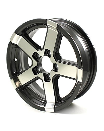 HWT 755545 15X5 5/4.5 Aluminum Series07 Trailer Wheel - Gray - Custom Lug 6 Wheels