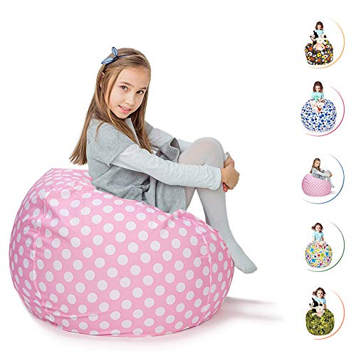 CALA LIFE Stuffed Animal Bean Bag Chair Extra Large Storage Pink Beanbag Soft Cotton Canvas - 38'' (Pink Dot) by CALA LIFE