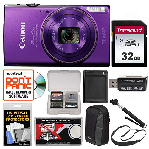 Canon PowerShot Elph 360 HS Wi-Fi Digital Camera (Purple) with 32GB Card + Case + Battery + Selfie Stick + Sling Strap + - Lcd Case Purple