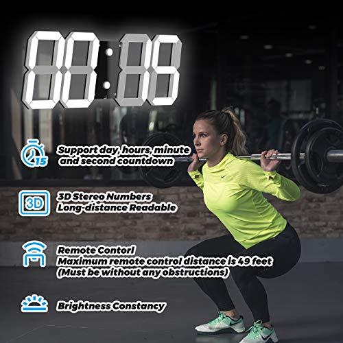 "CHKOSDA 3D Digital Wall Clock, 6"" LED Numbers Countdown Clock, Remote Control, Ultra-Thin Design, Large Calendar, Auto Dimmer/ 8-Level Adjustable Brightness Office Clock(Black Shell, White)"