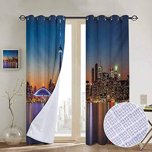 NUOMANAN Blackout Curtains for Bedroom Landscape,Urban Theme A Cityscape View of Toronto and The Skyscrapers at Dusk Digital Print,Dark Blue,Darkening Grommet Window Curtain-1 Pair 54