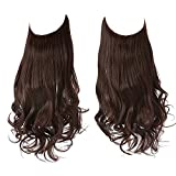 SARLA Halo Hair Extensions Long Wavy Curly Synthetic Hair Piece for Women Dark Auburn Adjustable Size Transparent Wire Headband Heat Friendly Fiber 22 Inch 5.3 Oz No Clip (M01-22&33#)