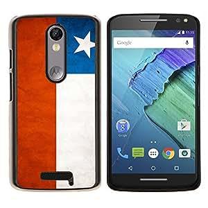 KLONGSHOP // Cubierta de piel con cierre a presión Shell trasero duro de goma Protección Caso - Nacional bandera de la nación País Chile - Motorola Moto X3 3rd Generation //