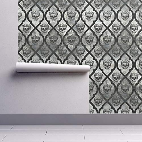 Peel-and-Stick Removable Wallpaper - Gray Skull Spooky Royal Skull Halloween Decor Skull Crown Halloween by Thecalvarium - 24in x 60in Woven Textured Peel-and-Stick Removable Wallpaper Roll]()