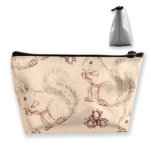Makeup Bag Cosmetic Squirrel Nuts Animal Portable Cosmetic Bag Mobile Trapezoidal Storage Bag Travel Bags with Zipper ()
