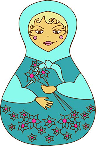 "Pretty Colorful Russian Matryoshka Doll Cartoon Art Vinyl Sticker (12"" Tall, Blue Doll)"