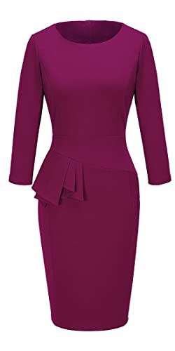 HOMEYEE Women's Chic Wear to Work Crew Neck Pencil Dress B228