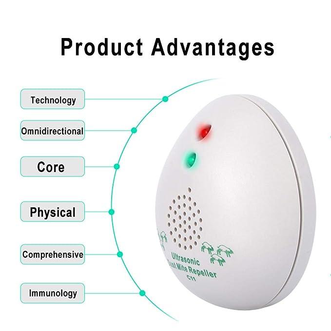 HRRH Controlador de ácaros, Limpiador ultrasónico antialérgico Mata el 99.9 por ciento de Las bacterias y los ácaros del Polvo, Controlador de ácaros del ...