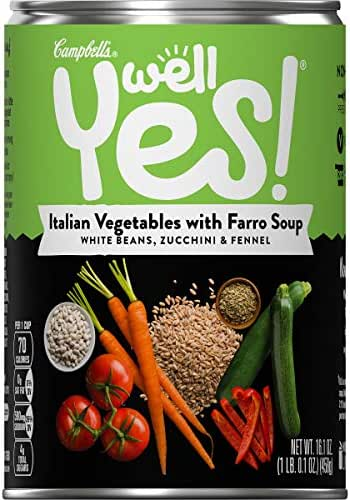 Campbell's Well Yes! Italian Vegetable with Farro Soup, 16.1 oz. Can