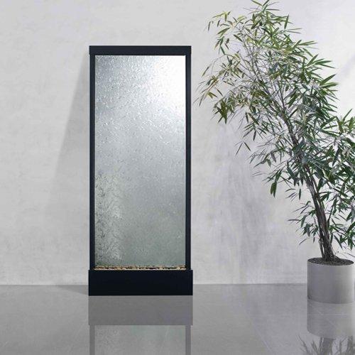 10' Waterfall Grande Floor Fountain Black Onyx Frame w Clear Glass ()