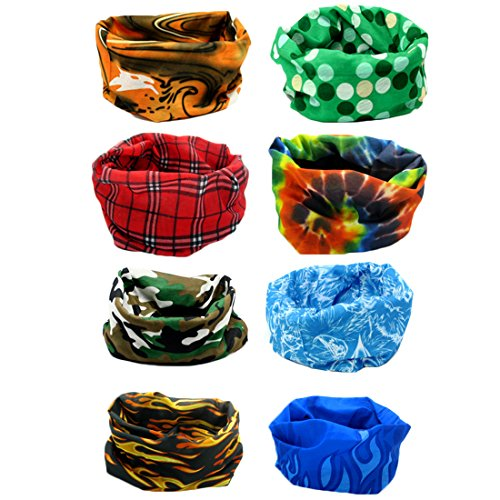 kilofly Multi-purpose Seamless Headwear Bandanas Mixed Set Value Pack [Set of (Pirate Headwear)