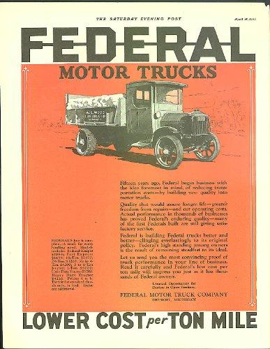 Lower cost per ton mile Federal Motor Trucks ad 1925 W E Wood Construction