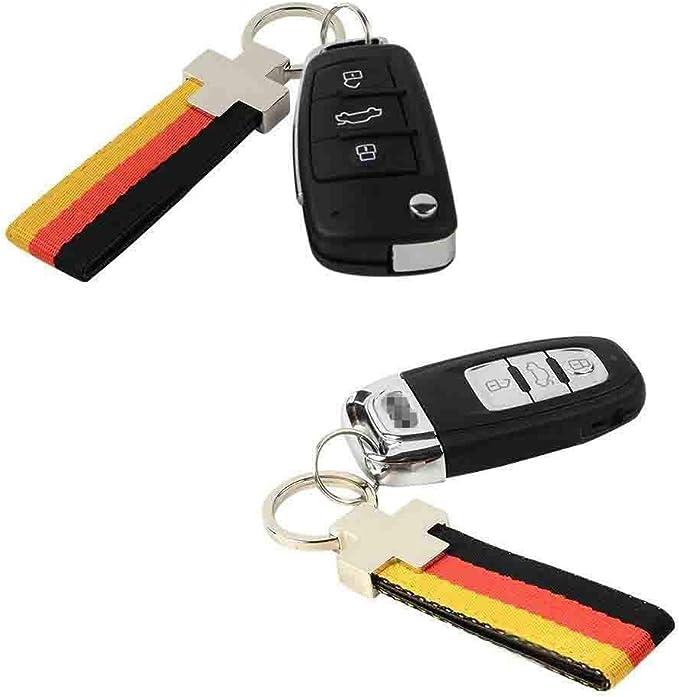 Europe Car Germany Flag Stripe Nylon Band w// Inner Leather Key Chain Strap Trim Decal for VW Audi Mercedes Porsche ect