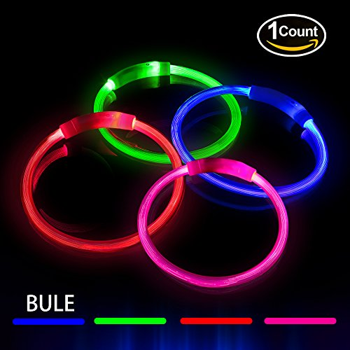 Led Dog Collar  Usb Rechargeable Pet Collar With Light Guide Rubber Strip  1640 Ft  Visibility For Dog Night Safety  3 Glowing Modes  Water Resistant  Fits For Small Medium Large Dogs  Blue