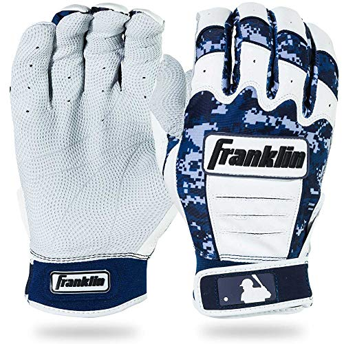 Franklin Sports Adult MLB CFX Pro Digi Series Batting Gloves, Pearl/Navy, Small